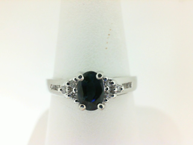 14 Karat White Gold Fashion Ring With One 0.48Ct Oval Sapphire And 10=0.10Tw Round Diamonds Ring Size: S-7