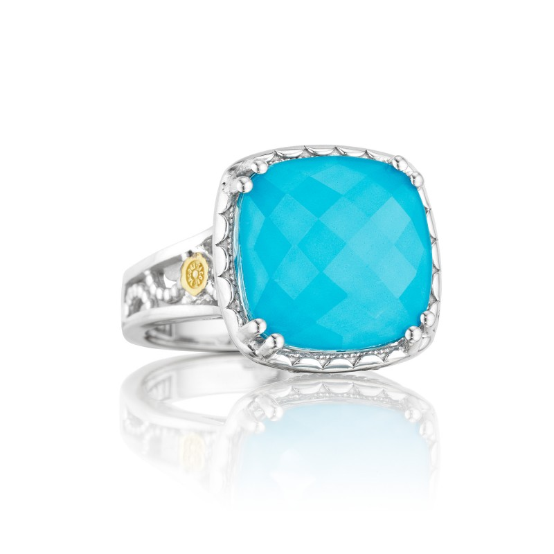 Tacori: Two-Tone Sterling Silver & 18Ky Filigree Fashion Ring With One 13.00mm Cushion Clear Quartz Over Neolite Turquoise Ring Size: 7