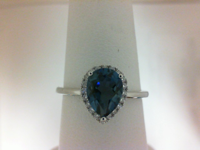 14 Karat White  Gold Halo Ring With 20=0.13Tw Round Diamonds And One 1.56Ct Pear London Blue Topaz
