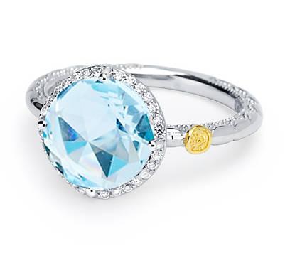 Tacori: 18K/925 Ring With One 10.00Mm Rose Cut Sky Blue Topaz And 28=0.13Tw Round Diamonds Name: Island Rains