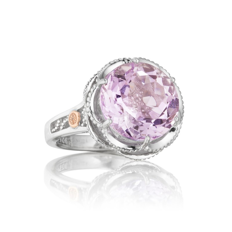 Tacori: 18K/925: Two-Tone Sterling Silver & 18Ky Fi Fashion Ring With One 7.91Ct Round Rose Amethyst Name: Blushing Rose - Rose Amethyst Ring Size: 7