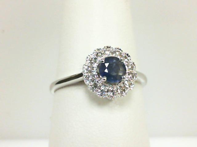 14 Karat White Gold Milgrain Fashion Ring With One 0.40Ct Round Sapphire And 14=0.13Tw Round Diamonds Ring Size: 7.25