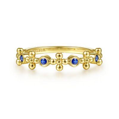 Gabriel & Co 14 Karat Yellow Gold Sapphire Bujukan Bead Ring