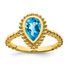 Yellow Gold 14 Karat Fashion Ring With One 8.00X6.00Mm Pear Swiss Blue Topaz