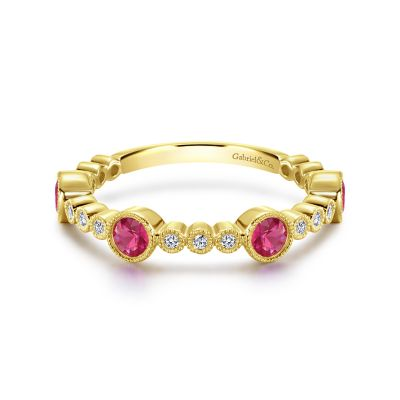 Gabriel & Co:14 Karat Yellow Gold Diamond 0.10Tw And Ruby 0.60Tw Stackable Ring