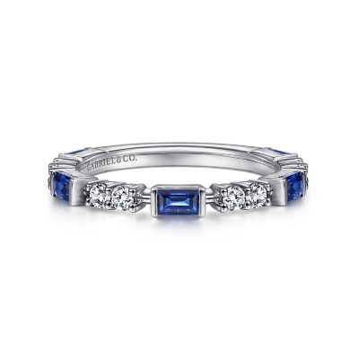 Gabriel & Co: 14K White Gold Alternating Sapphire Baguette 0.64Tw And Diamond 0.24Tw Ring