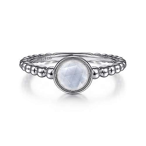 Gabriel & Co:Sterling Silver Rock Crystal and White Mother of Pearl Bujukan Ring
