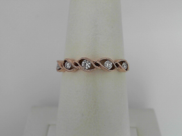 14 Karat Rose Gold Stackable Milgrain Band With 5=0.16Tw Round Brilliant Diamonds Ring Size 6.5
