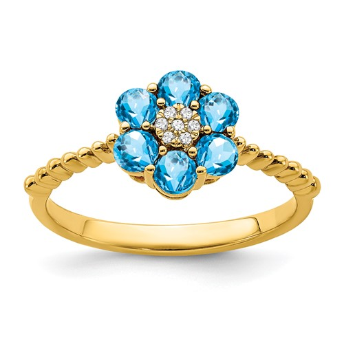 14k Swiss Blue Topaz and Diamond Floral Ring
