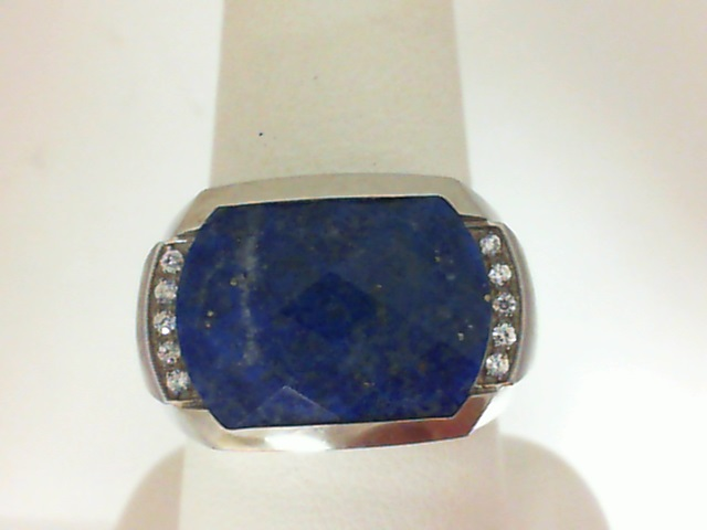 Sterling Silver Lapis & Cubic Zirconia Fashion Ring Size 10