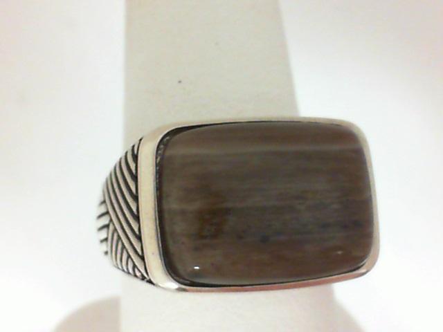 Sterling Silver Petrified Wood Fashion Ring