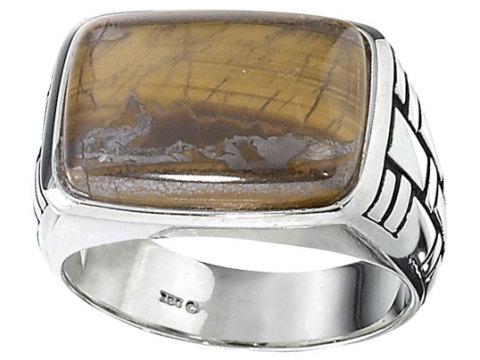 Sterling Silver Tiger's Eye Fashion Ring Size 10.25