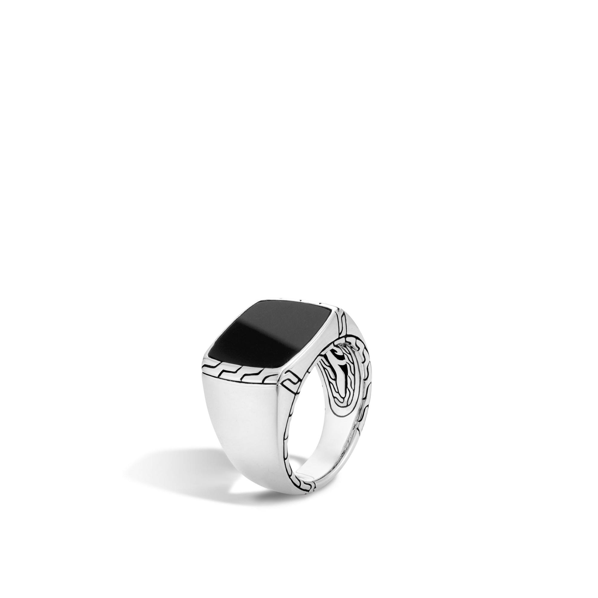 John Hardy: Sterling Silver  Classic Chain Signet Ring With Black Jade Ring Size: 10 Ring Measures 6mm To 16.5mm Wide