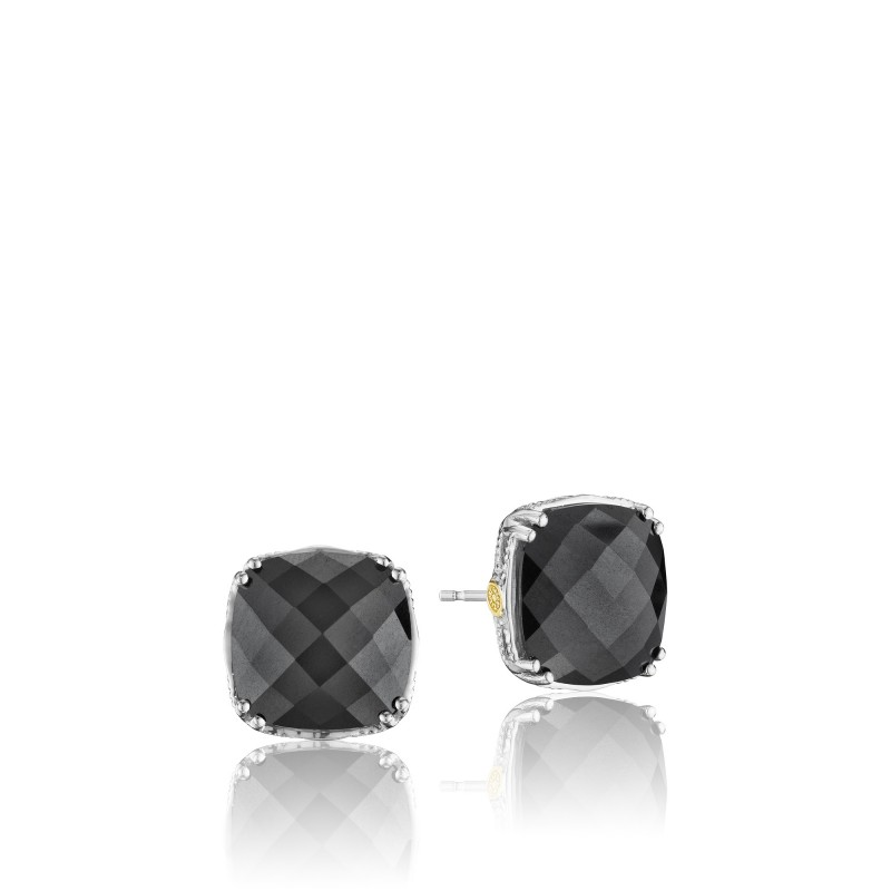 Tacori: 18K/925:  Sterling Silver & 18Ky Filigree Stud Earrings With 2=20.40Tw Cushion Hematites