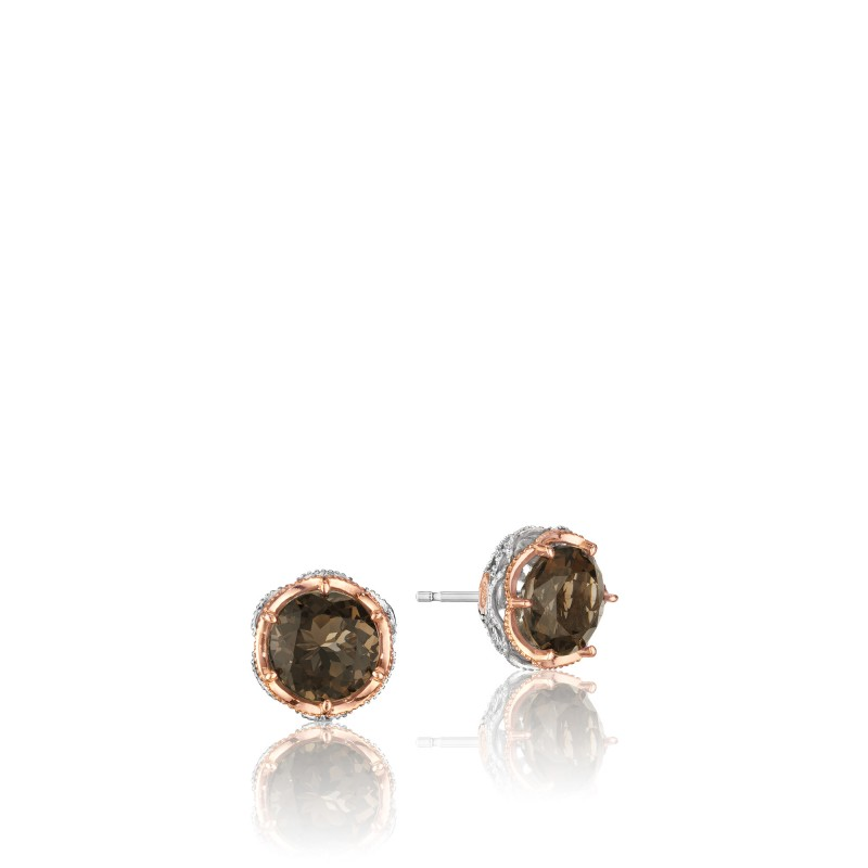 Tacori: Sterling Silver&18 Karat Rose Gold Filigree Truffle Stud Earrings With 2=8.00Mm Round Smokey Quartzs