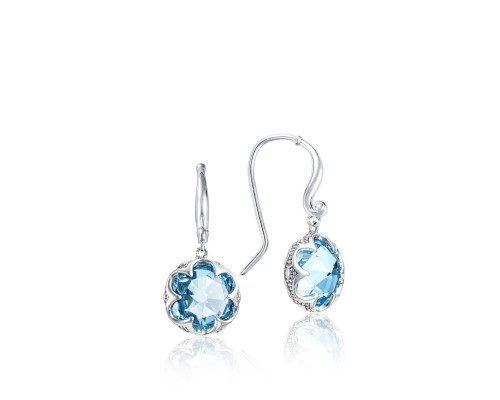 Tacori:   Sterling Silver Engraved Drop Earrings With 2=9.60Tw Rose Cut Sky Blue Topazs Style Name: Sonoma Skies- Sky Blue Topaz