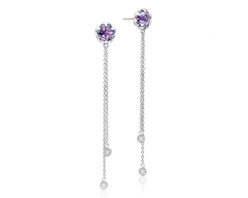 Tacori: Sterling Silver Engraved Dangle Earrings With 2=2.54Tw Rose Cut Amethysts And 4=0.10Tw Round Diamonds Style Name: Sonoma Skies- Amethyst
