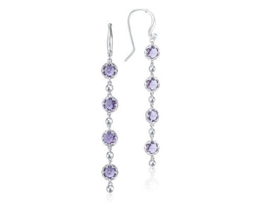 Tacori:  Sterling Silver Engraved Dangle Earrings With 8=3.68Tw Rose Cut Amethysts Style Name: Sonoma Skies- Amethyst