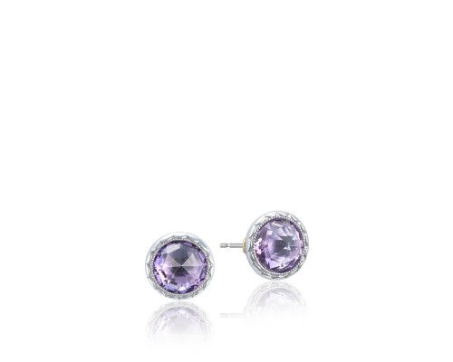 Tacori:  Sterling Silver Engraved Stud Earrings With 2=6.68Tw Rose Cut Amethysts Style Name: Lilac Blossoms- Amethyst