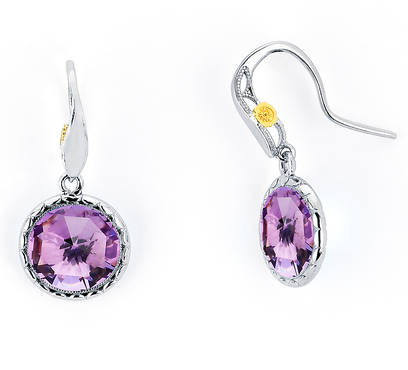 Tacori: Sterling Silver & 18 Karat Yellow Gold Milgrain Earrings With 2=10.00Mm Rose Cut Amethysts Style Name: Lilac Blossom