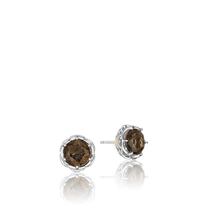 Tacori:  Sterling Silver & 18 Karat Yellow Gold Filigree Stud Earrings With 2=3.60Tw Round Smokey Quartzs Style Name: Truffle - Smokey Quartz