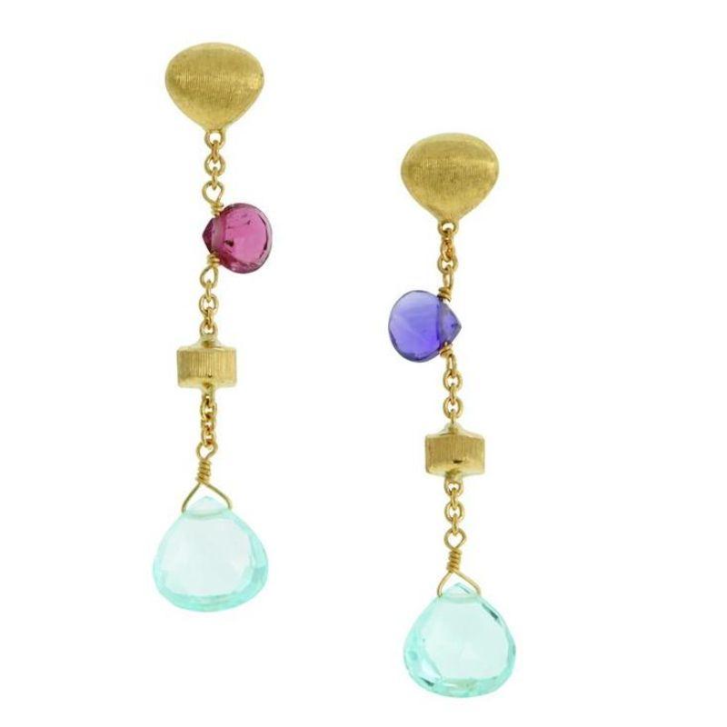 Marco Bicego: 18 Karat Yellow Gold Paradise Mixed Gemstones Dangle Earrings