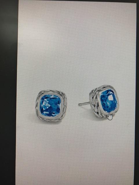 John Hardy: Sterling Silver Earrings Classic Magic Cut Stud With 8mm London Blue Topaz