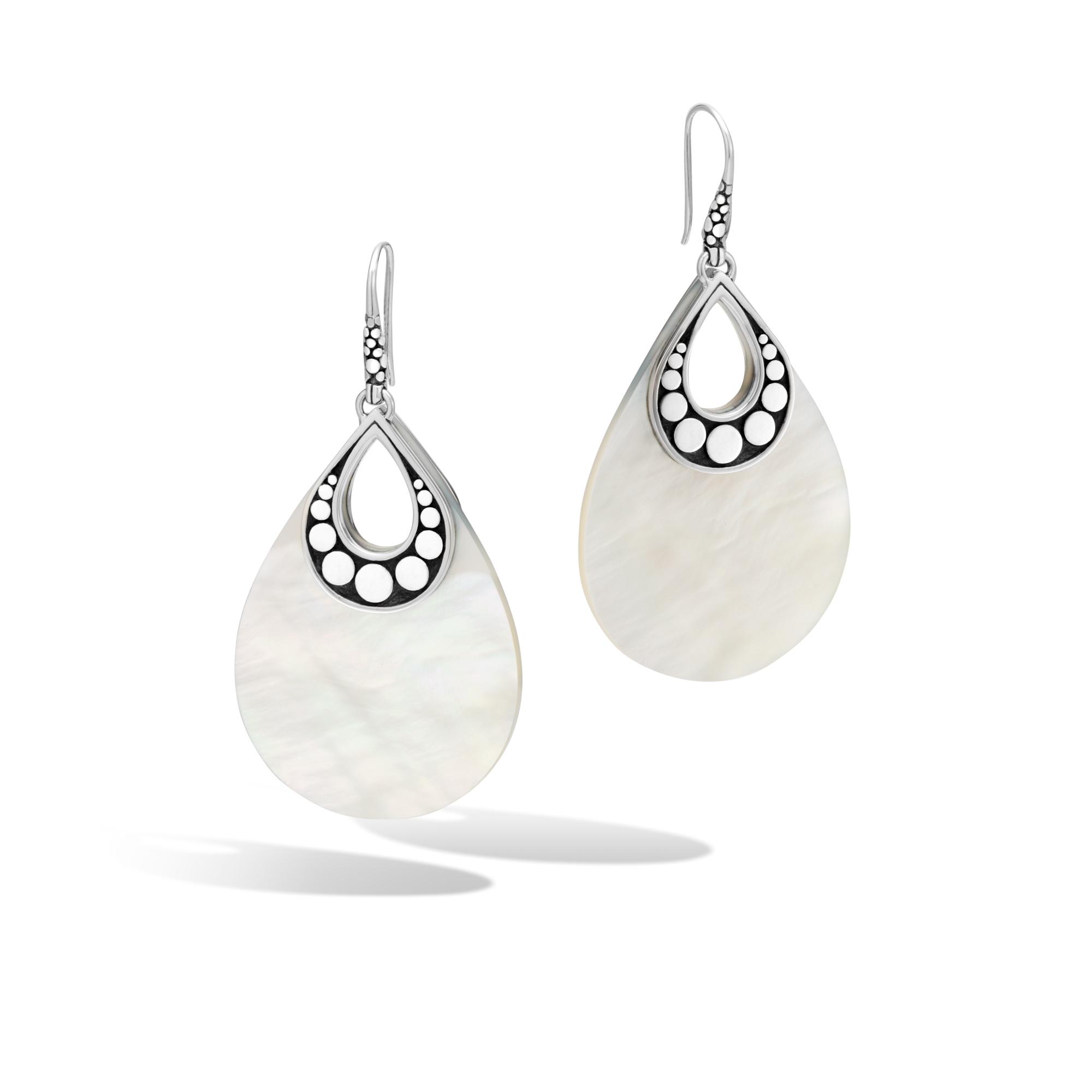 John Hardy: Sterling Silver Dot Mother Of Pearl Dangle Earrings