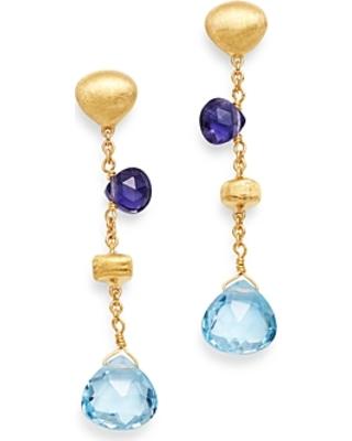Marco Bicego: 18 Karat Yellow Gold Paradise Blue Topaz & Iolite  Earrings