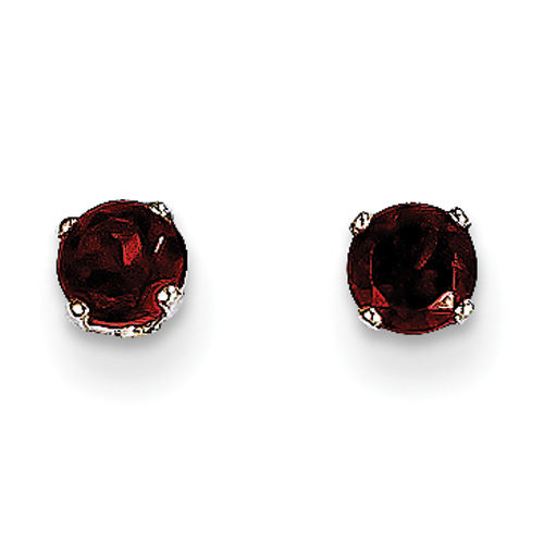 14 Karat White Gold  Stud Earrings With Two 4mm Round Garnets