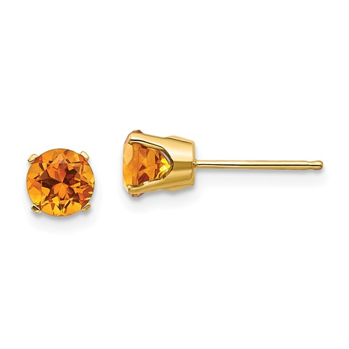 14 Karat Yellow Gold Earrings With 2=5.00mm Round Citrines