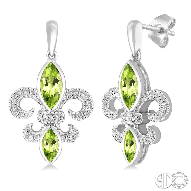 Sterling Silver Dangle Earrings Fleur di Lis with Peridot
