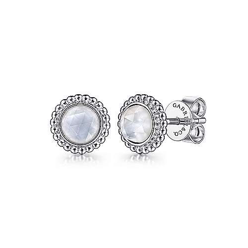 Gabriel & Co:Sterling Silver Round Rock Crystal and White Mother of Pearl Stud Earrings