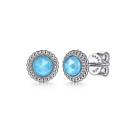 Gabriel & Co: Sterling Silver Round Rock Crystal/Turquoise Stud Earrings