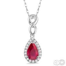 10 Karat White Gold Pendant With 20=0.10Tw Round I/J I1-I2 Diamonds And One 6.00X4.00mm Pear Ruby