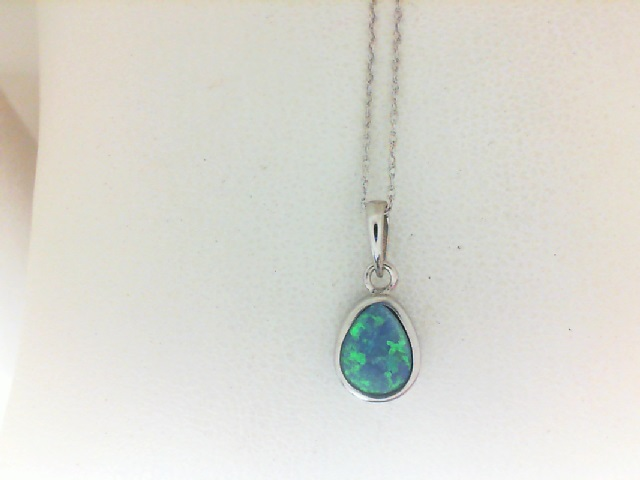 14 Karat White Gold Doublet Opal Pendant On 18