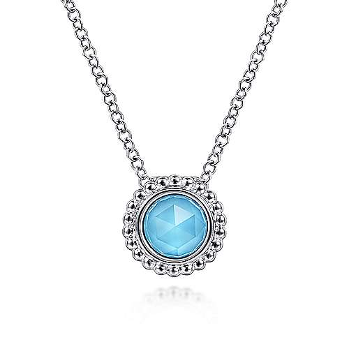 Gabriel & Co:Sterling Silver Rock Crystal and Turquoise Bujukan Frame Pendant Necklace 17.5