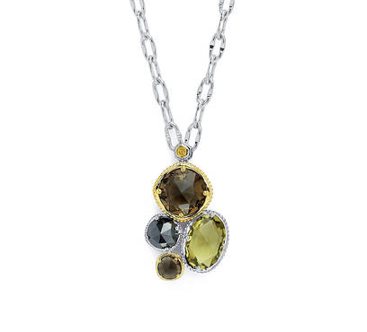 Tacori: Sterling Silver & 18 Karat Yellow Gold Engraved Necklace Withone Oval Olive Quartz; 2= Rose Cut Smokey Quartzs And one Rose Cut Hematite On 18