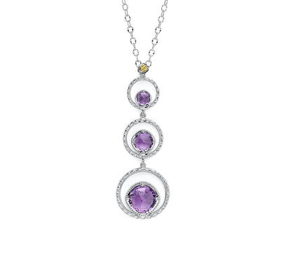 Tacori: Sterling Silver & 18Karat Yellow Gold Engraved Necklace With 3= Rose Cut Amethysts On 18