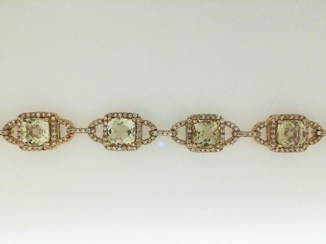 14 Karat Yellow Gold Bracelet With 10=9.06Tw Square Lemon Quartz And 420=1.96Tw Round Diamonds