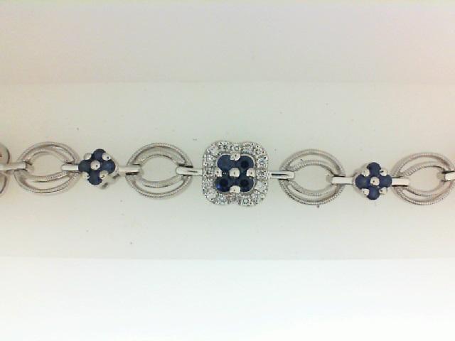 14 Karat White Gold Bracelet With 80=0.69Tw Round Diamonds And 40=2.24Tw Round Sapphires