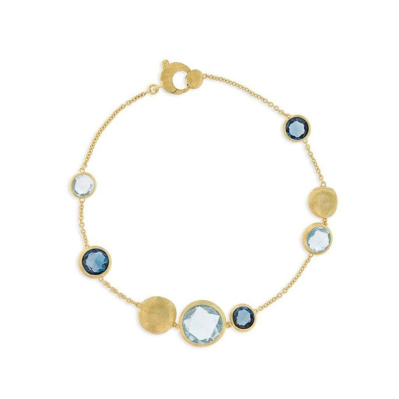 Marco Bicego: 18 Karat Yellow Gold Jaipur Mixed Blue Topaz Bracelet Length: 7