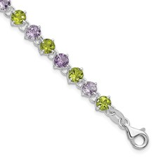 Sterling Silver Bracelet With 11  Round 3mm Peridot Gemstones And 10  Round 3mm Amethyst Gemstone   7 Inches With extender
