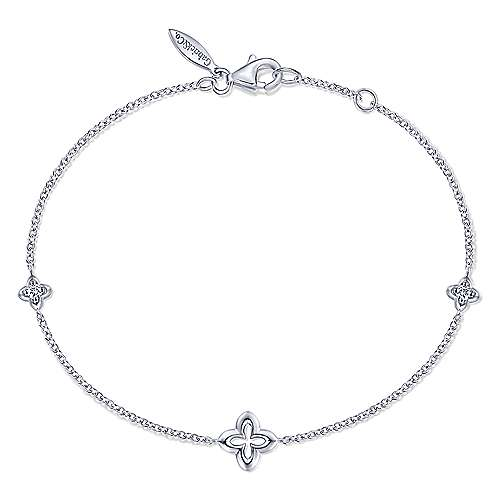 Gabriel & Co:Sterling Silver Clover and White Sapphire Bracelet