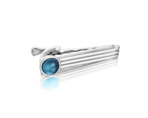 Tacori:  Sterling Silver Engraved Jewelry With One 1.96Ct Cabochon Sky Blue Topaz Over Hematite Style Name: Monterey Roadster Racing TieBar Serial #: A20241617