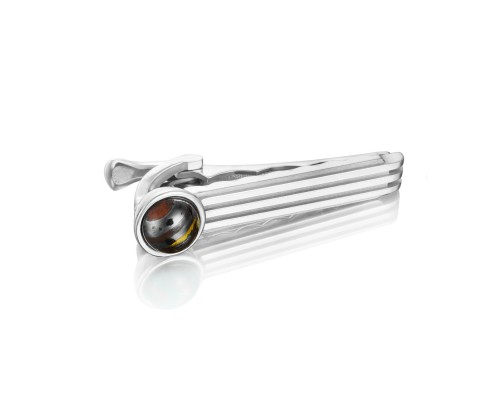 Tacori:  Sterling Silver Engraved Jewelry With One 1.95Ct Cabochon Tiger Iron Style Name: Monterey Roadster Racing TieBar Serial #: A20241616
