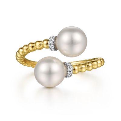 Gabriel & Co 14 Karat Yellow Gold Pearl And 0.05 ct Diamond Bypass Bujakan Ring