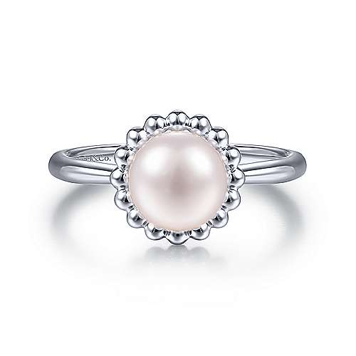 Gabriel & Co:Sterling Silver Bujukan Frame Pearl Ring