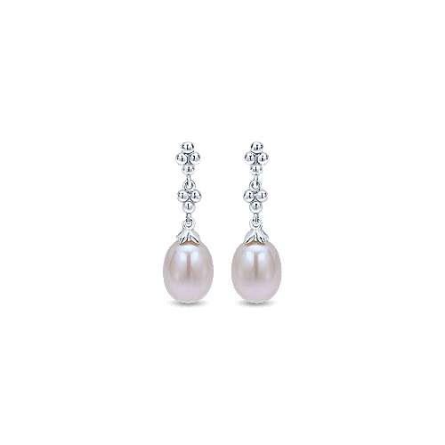 Gabriel&Co: Sterling Silver Linear Pearl Earrings
