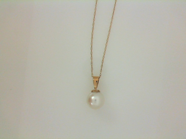 14 Karat Yellow Gold Pendant With One 7.00mm Round Pearl On 18